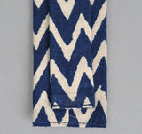 The Hill-Side - Cotton/Linen Zig Zag Print Tie, Navy - N57-168