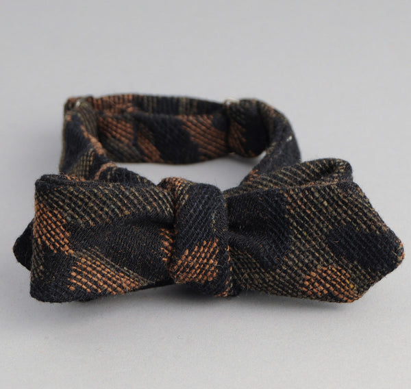 The Hill-Side - Cotton / Wool Jacquard Camo Bow Tie, Olive - BT1-306