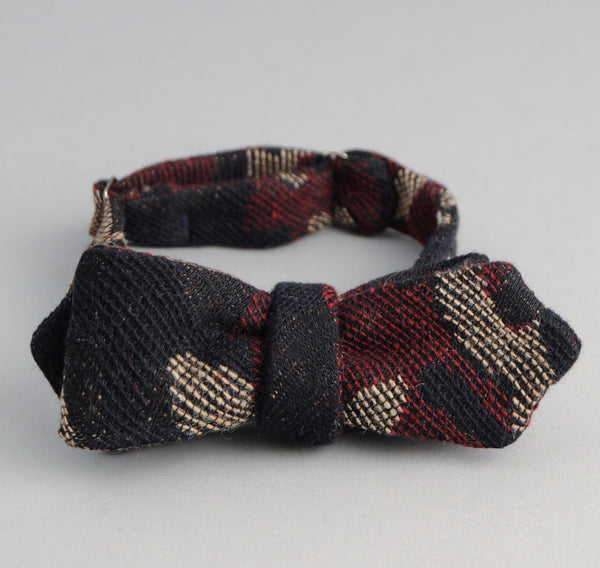 The Hill-Side - Cotton / Wool Jacquard Camo Bow Tie, Red - BT1-307