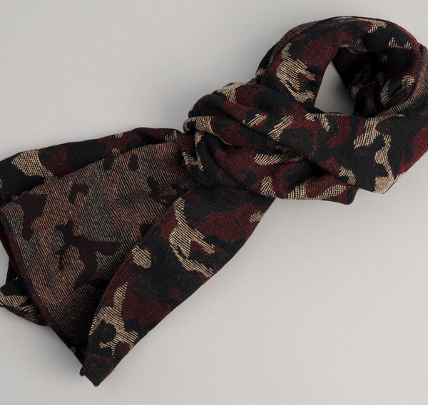 The Hill-Side Cotton / Wool Jacquard Camo Scarf, Red