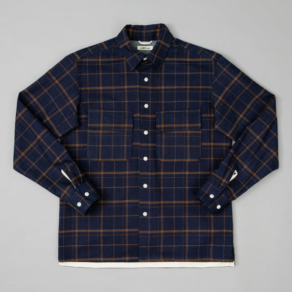 The Hill-Side - Coupe Shirt, Indigo / Brown Flannel Check - SH5-378