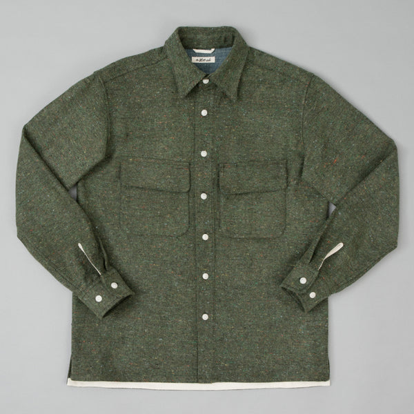 "The Hill-Side Coupe Shirt, Wool Blend ""Galaxy"" Tweed, Olive"