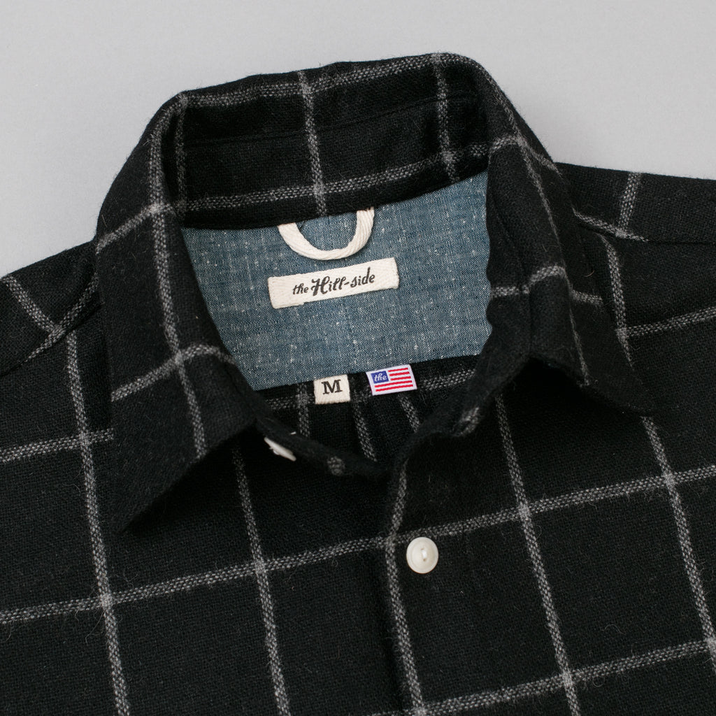 The Hill-Side - Coupe Shirt, Wool Blend Windopane Check, Black & Grey - SH5-384