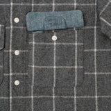 The Hill-Side - Coupe Shirt, Wool Blend Windopane Check, Grey & White - SH5-383