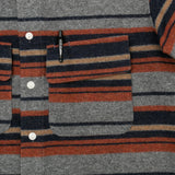 The Hill-Side - Coupe Shirt, Wool/Cotton Blanket Stripe, Grey/Navy/Rust - SH5-203