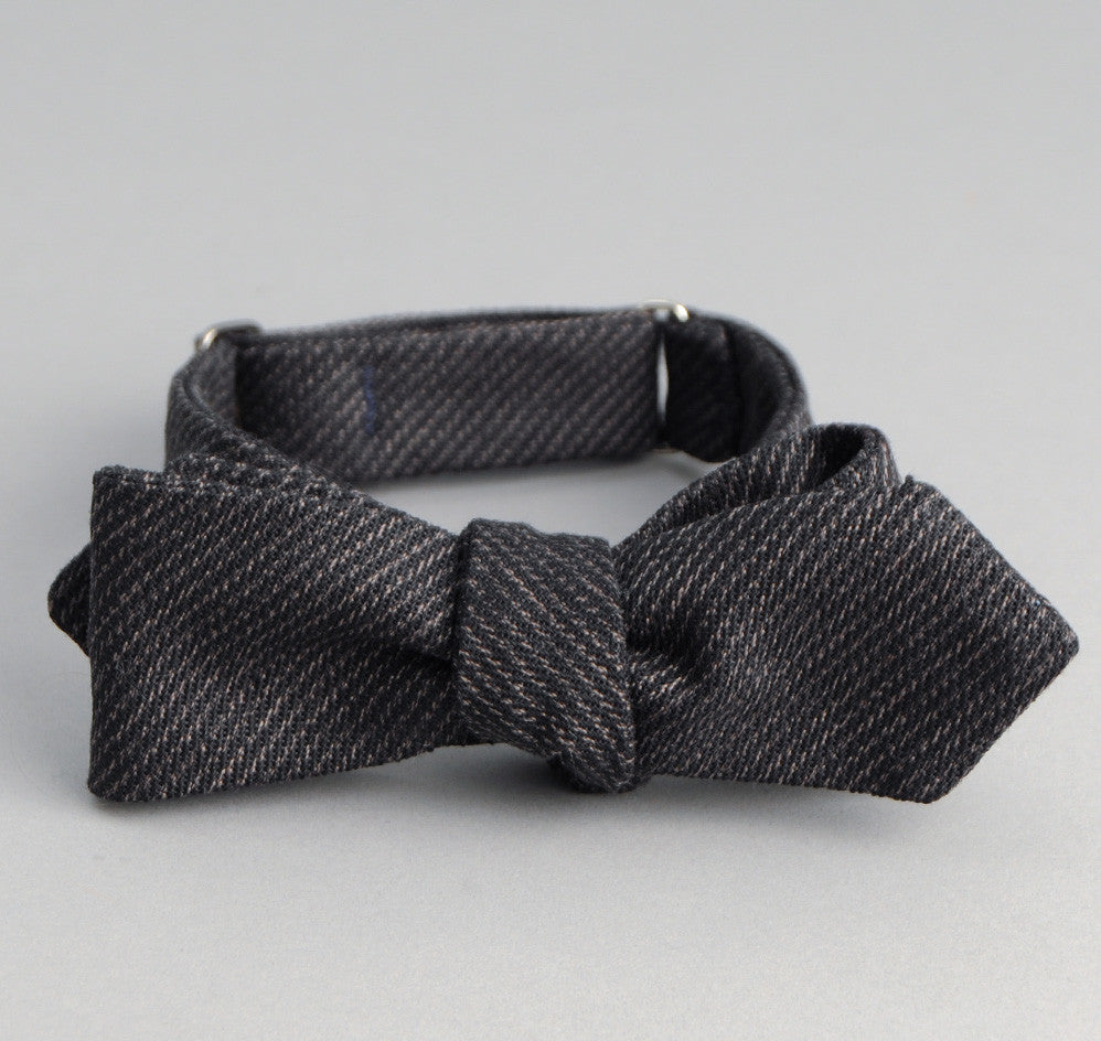 The Hill-Side - Covert Hickory Stripe Twill Bow Tie, Black - BT1-304