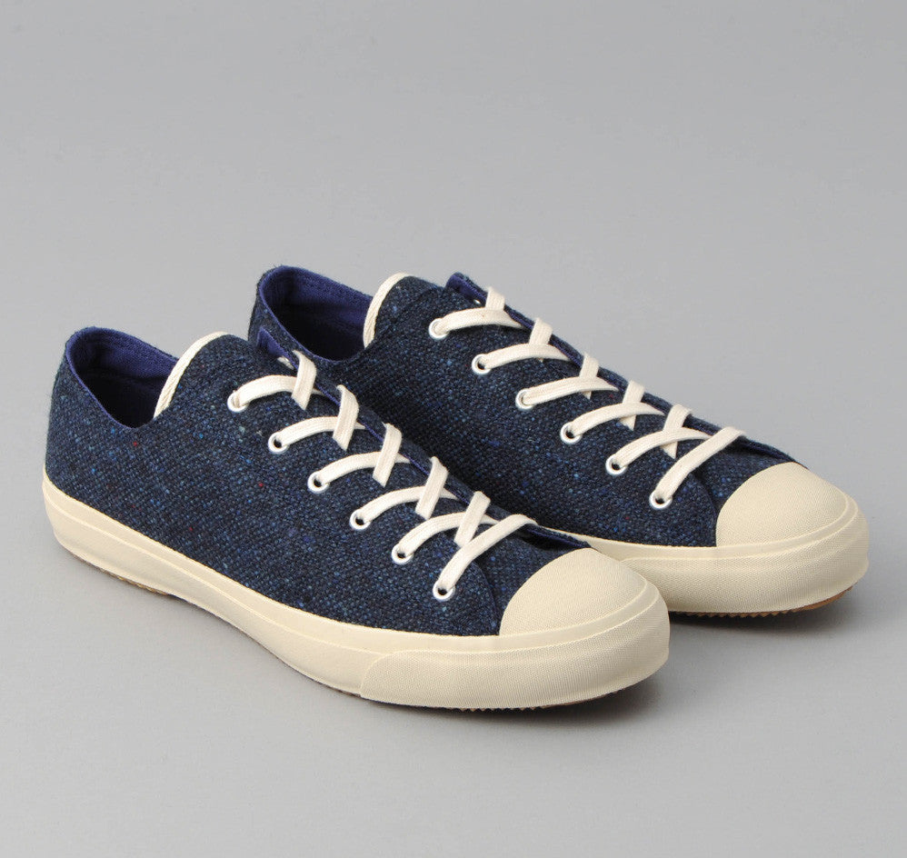 The Hill-Side - Donegal Tweed Low Top Sneakers, Navy - SN2-222