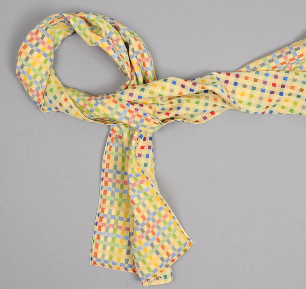 The Hill-Side - Double-Face Gauze Check Small Scarf, Yellow - N56-143