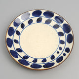 The Hill-Side - Endo Pottery Dinner Plate - Blue & Natural Abstract Leaves Motif Japanese Pottery - CE1-04