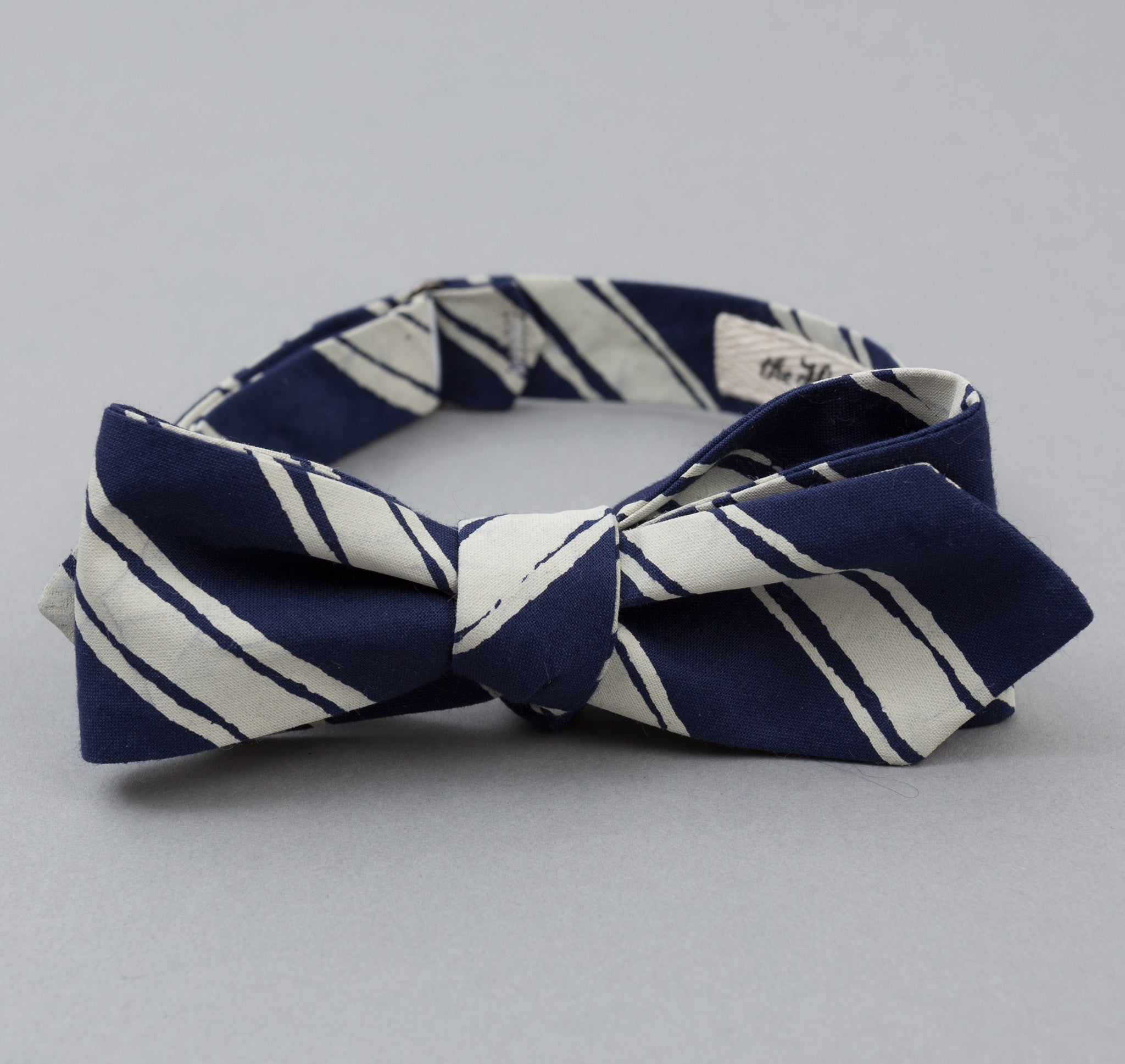 The Hill-Side - Endo Stripes Print Bow Tie, Navy - BT1-345