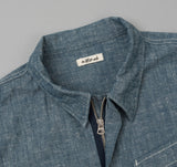 The Hill-Side - Extra Neppy Indigo Chambray Heli Crew Shirt - SH4-324