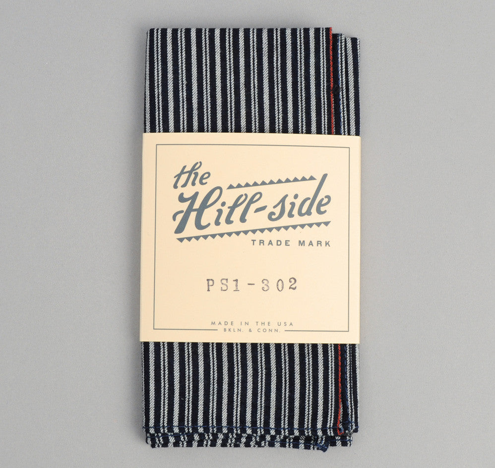 The Hill-Side - Father & Son Stripe Twill Pocket Square, Indigo / White - PS1-302
