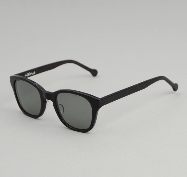 The Hill-Side - Handmade Acetate Sunglasses, Black / Green Lenses - SU1-01