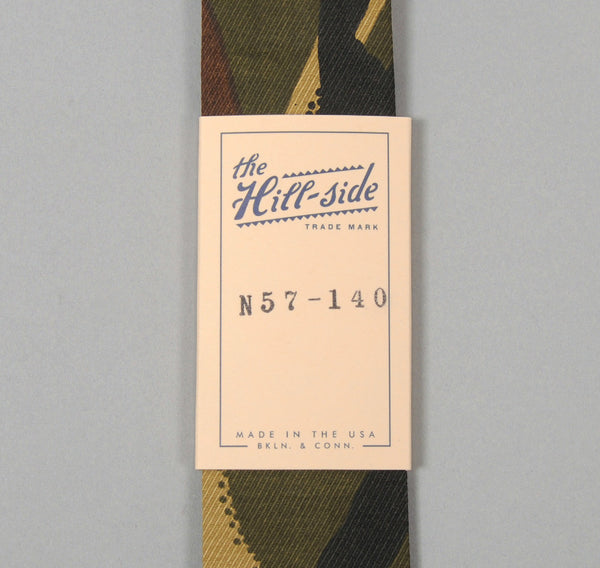 The Hill-Side Hungarian Camouflage Print Tie, Olive / Brown