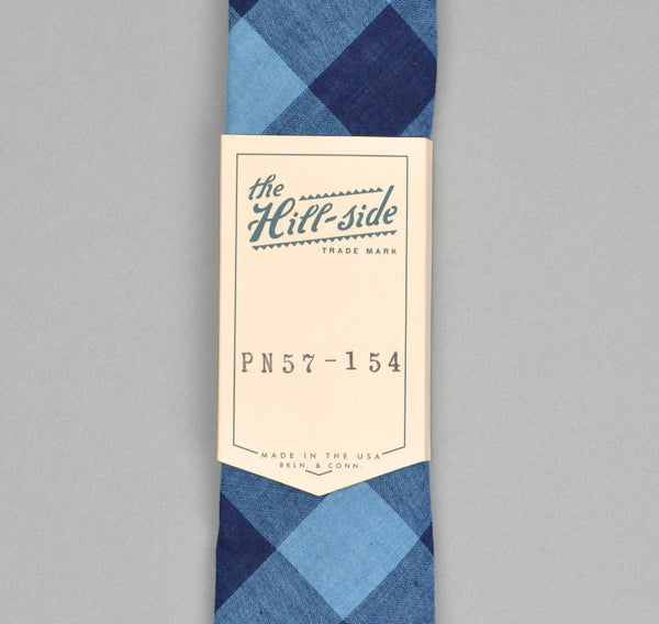The Hill-Side INDIGO LARGE GINGHAM POINTED TIE