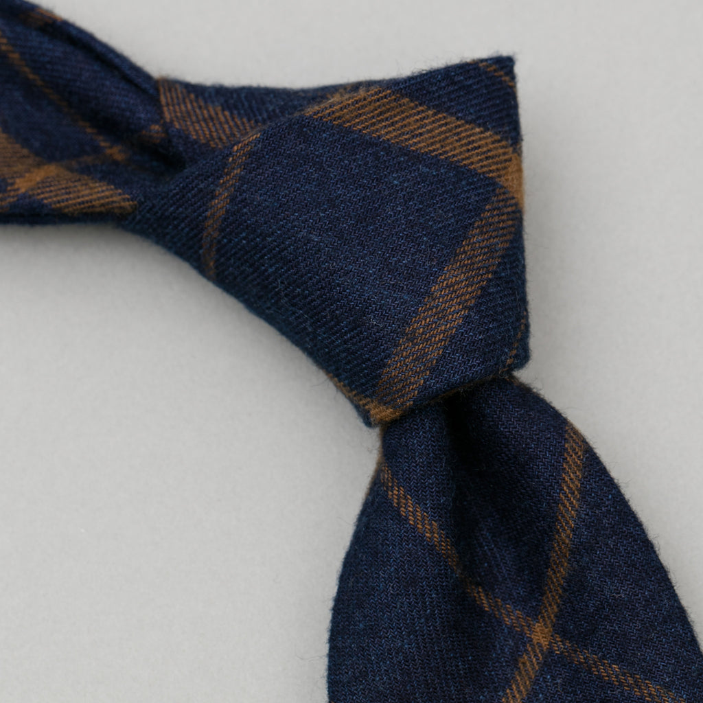 The Hill-Side - Indigo/Brown Flannel Check Necktie - PT1-378