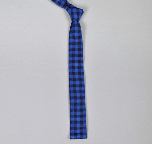 The Hill-Side - Indigo Herringbone Gingham Check Tie, Indigo / Navy - N57-111