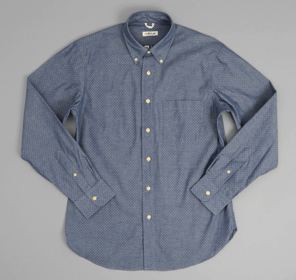 The Hill-Side - Jacquard Chambray Dot Button-Down Shirt, Indigo - SH1-181