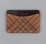 The Hill-Side - Kakishibu Dyed Cotton Oxford Card Case, Hand-Drawn Check - CC1-320