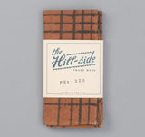 The Hill-Side - Kakishibu Dyed Cotton Oxford Pocket Square, Hand-Drawn Check - PS1-320