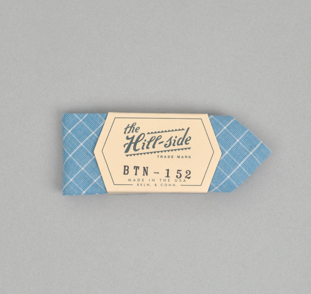 The Hill-Side LIGHT BLUE GRID BOW TIE
