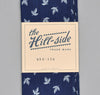 The Hill-Side - LINEN INDIGO DISCHARGE PRINT SMALL SCARF, LEAVES - N56-156