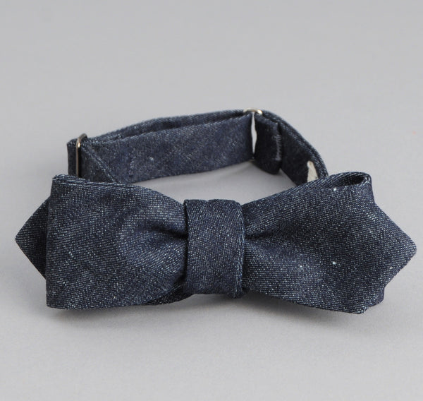 The Hill-Side - Lightweight Weft-Slub Denim Bow Tie, Indigo - BT1-310