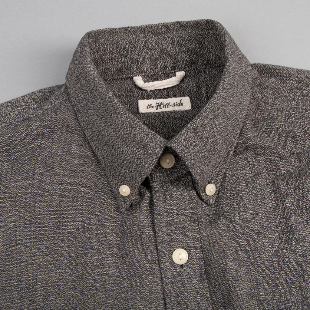 The Hill-Side - Long Sleeve Standard Shirt, Selvedge Covert Chambray, Warm Black - SH1-373