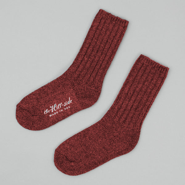 The Hill-Side - Merino Wool Ragg Socks, Red - SX5-04