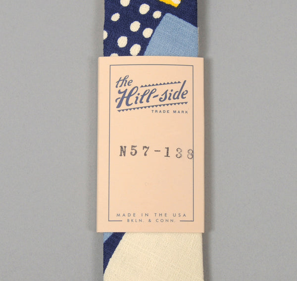 "The Hill-Side - ""Mounds"" Abstract Print Tie, Blue / Yellow - N57-138"