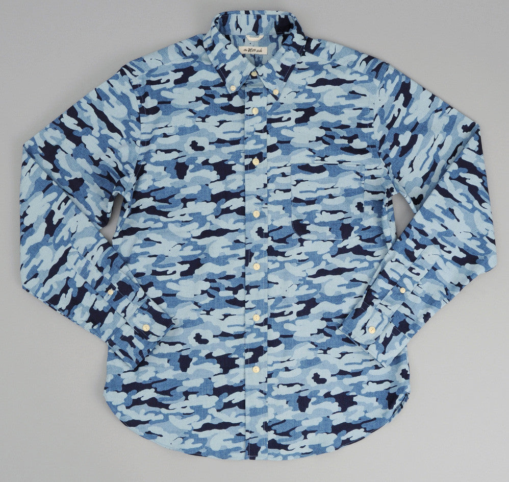 The Hill-Side - Multi-Discharge Cloud Print Button-Down Shirt, Indigo - SH1-272