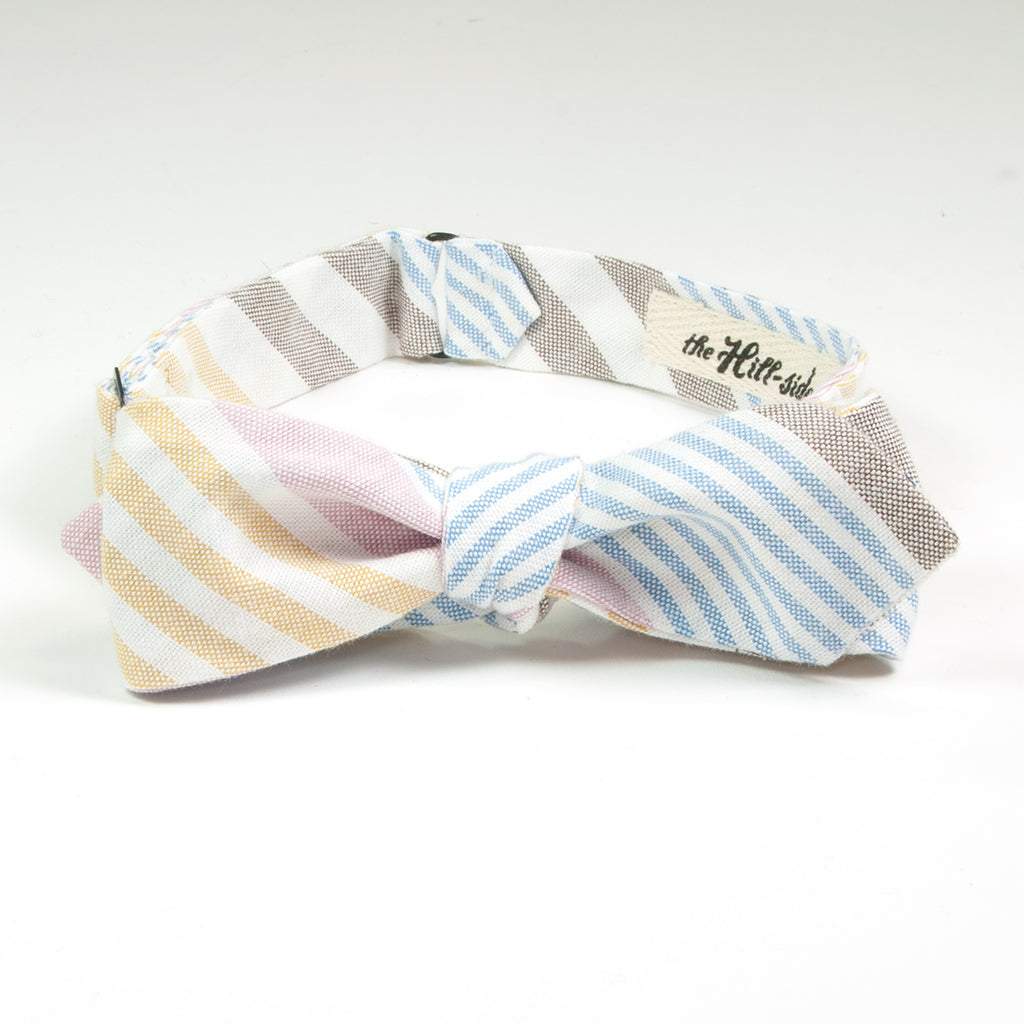 The Hill-Side - BT1-253 - Multi Stripe Oxford Bow Tie, Blue / Pink / Yellow