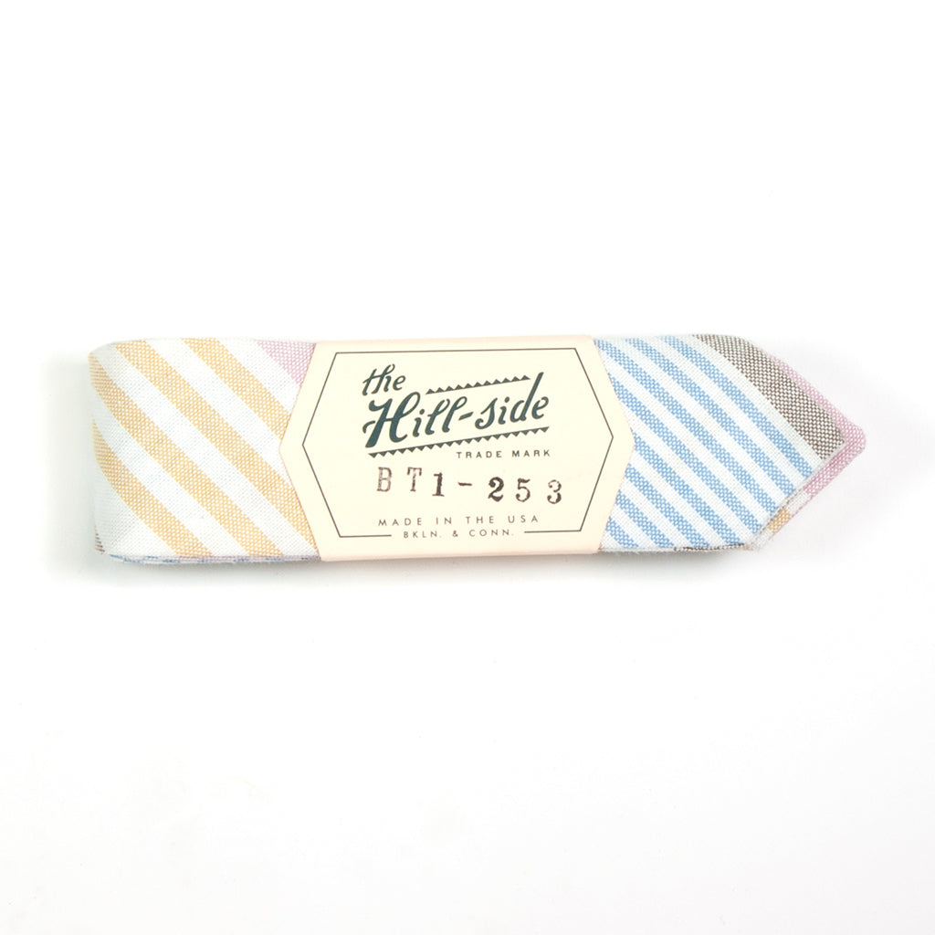 Multi Stripe Oxford Bow Tie, Blue / Pink / Yellow