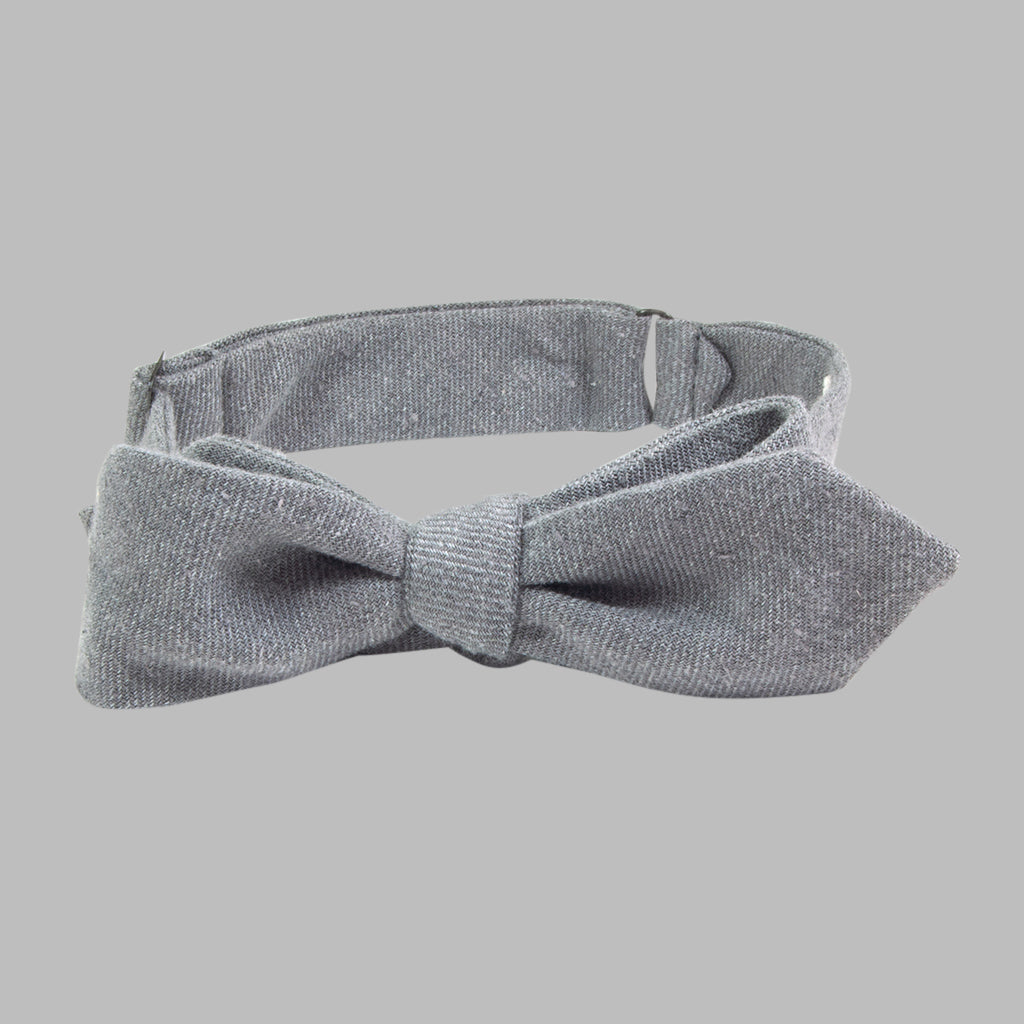 The Hill-Side Nep Twill Flannel Bow Tie, Grey