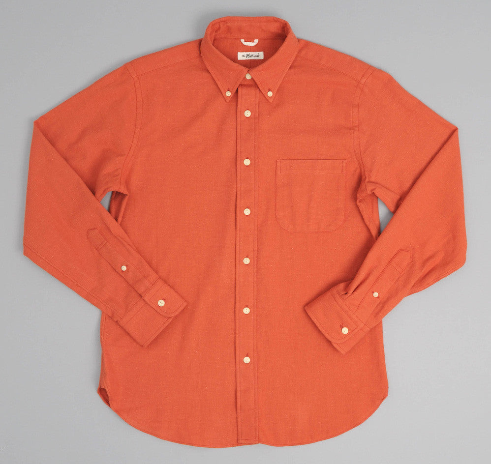 The Hill-Side - Nep Twill Flannel Button-Down Shirt, Brick Red - SH1-187