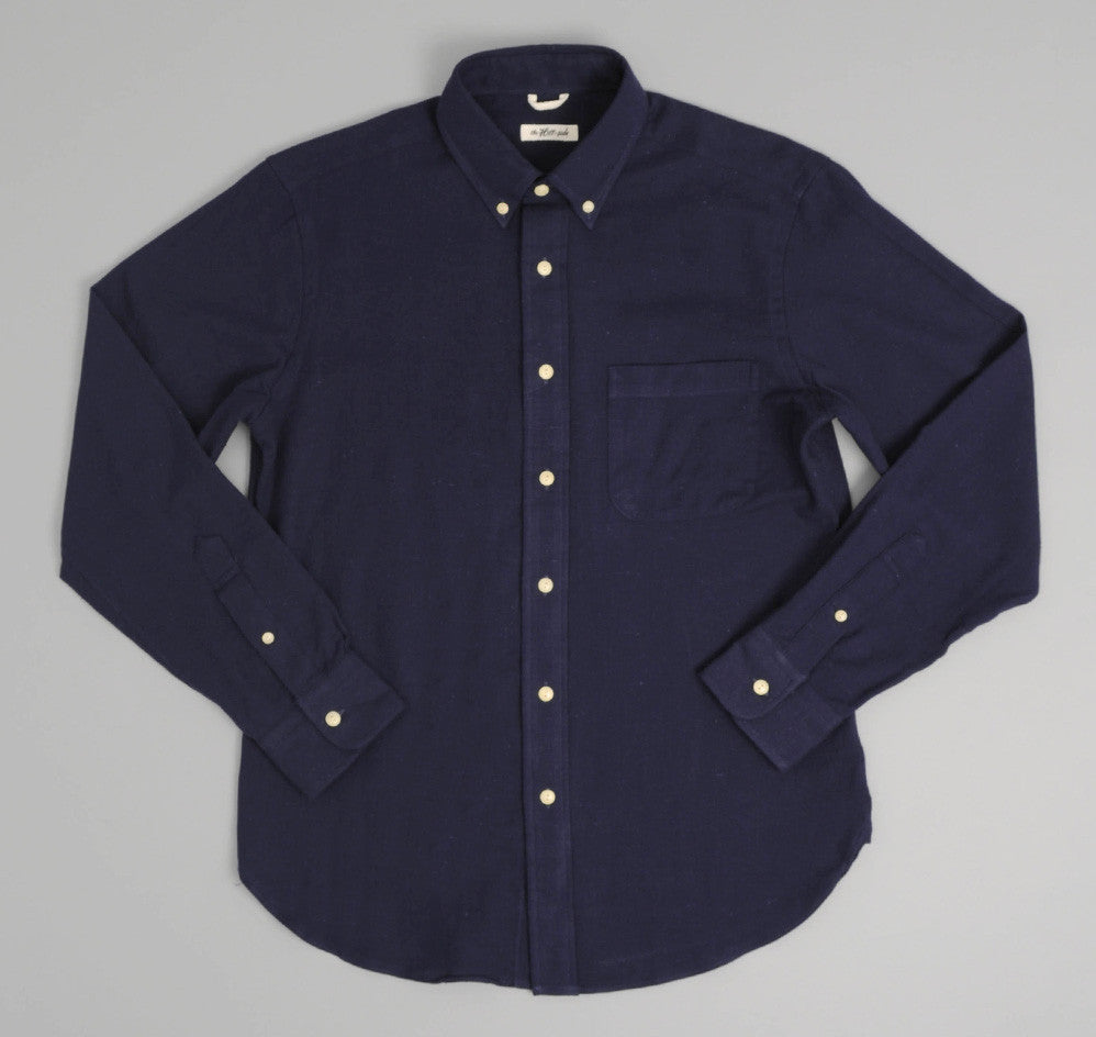 The Hill-Side - Nep Twill Flannel Button-Down Shirt, Navy - SH1-183