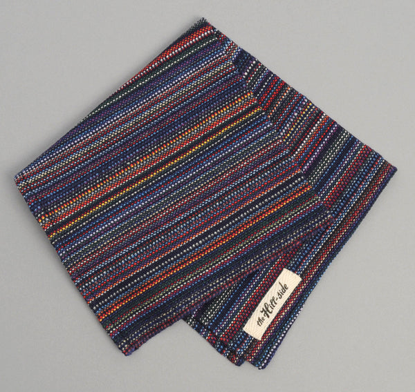 "The Hill-Side ""Old Virginia"" Plain Weave Stripe Pocket Square, Navy"