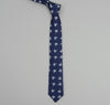The Hill-Side - PT1-156 - Linen Indigo Discharge Print Tie, Leaves - PT1-156