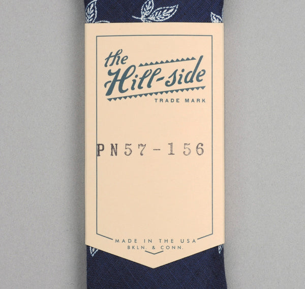 The Hill-Side PT1-156 - Linen Indigo Discharge Print Tie, Leaves