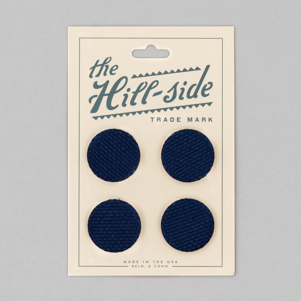The Hill-Side - Pin-Back Buttons, Selvedge Lightweight Indigo Sashiko - PB1-244