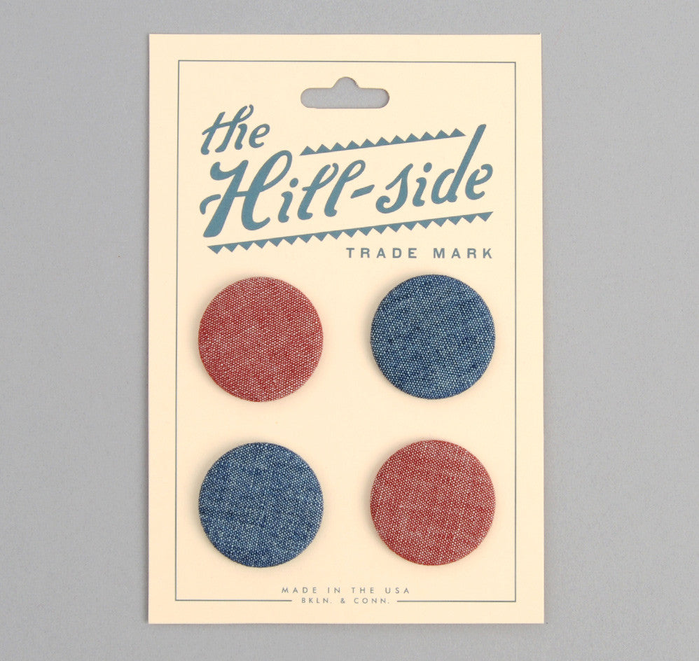 The Hill-Side - Pin-Back Buttons, Two Chambrays - PB1-01