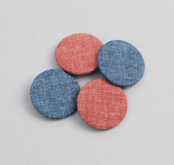 The Hill-Side Pin-Back Buttons, Two Chambrays