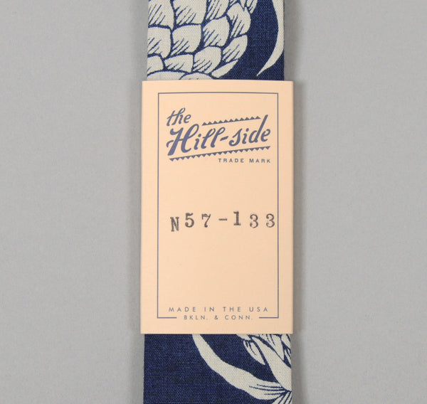 The Hill-Side Pineapples Discharge Print Tie, Indigo / White
