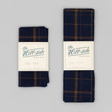 The Hill-Side - Pocket Square, Indigo / Brown Flannel Check - PS1-378