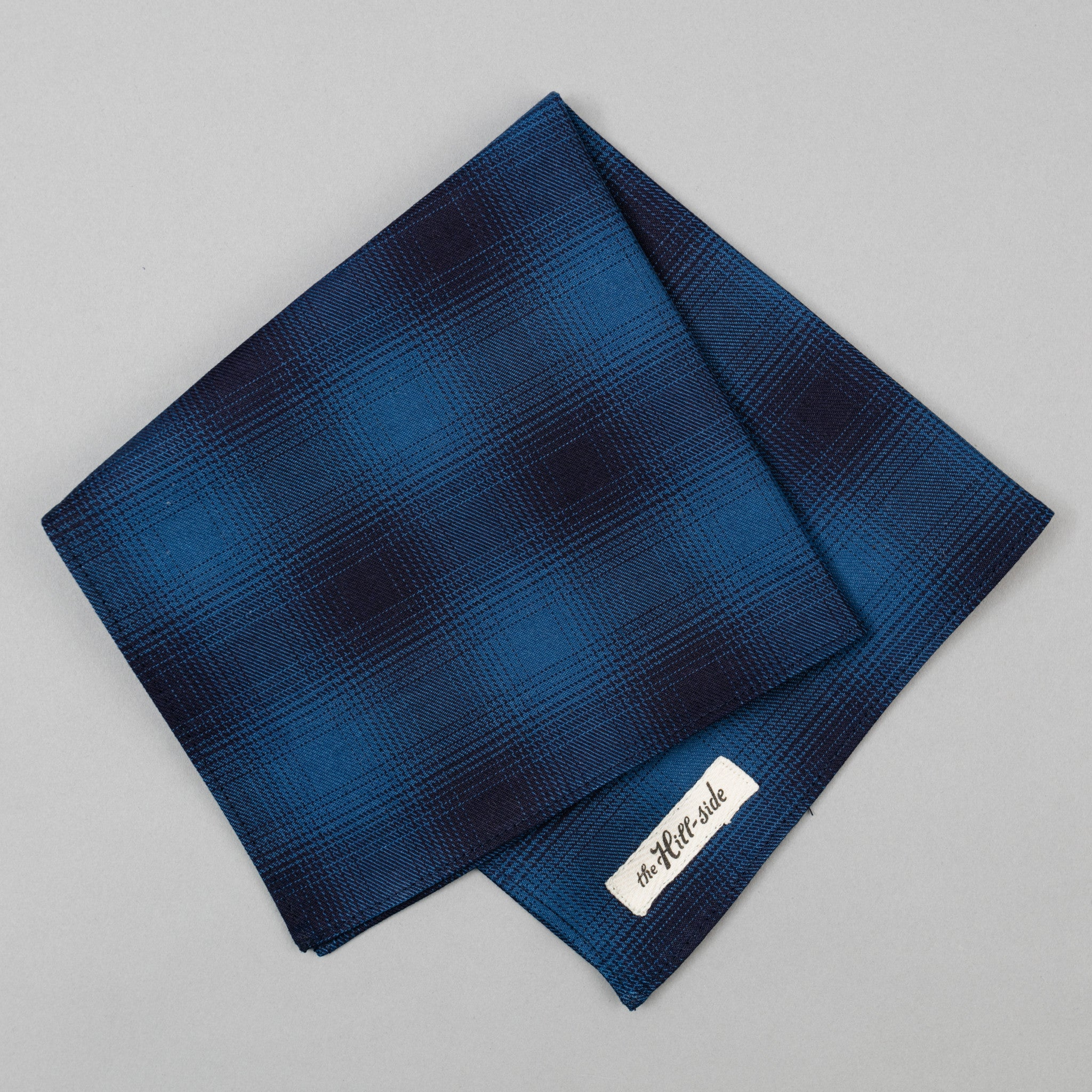The Hill-Side - Pocket Square, Indigo Ombre Plaid Flannel - PS1-375