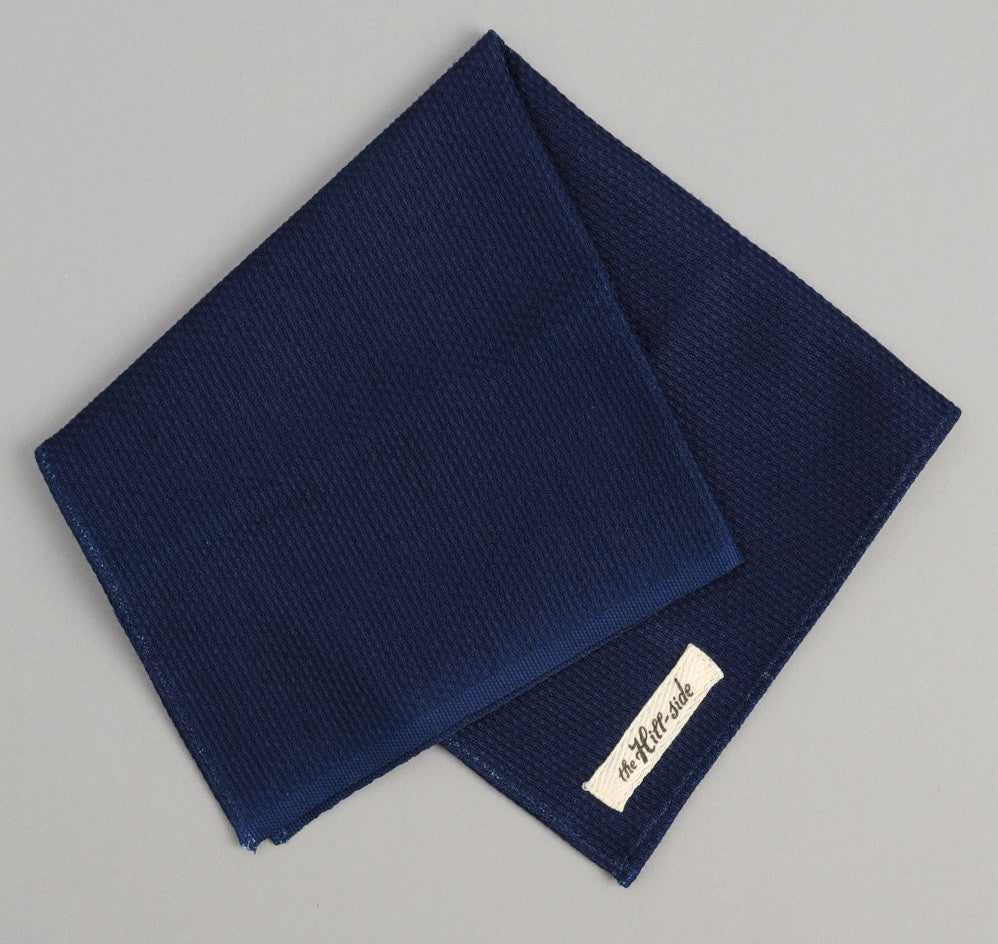 The Hill-Side - Pocket Square, Selvedge Lightweight Indigo Sashiko - PS1-244