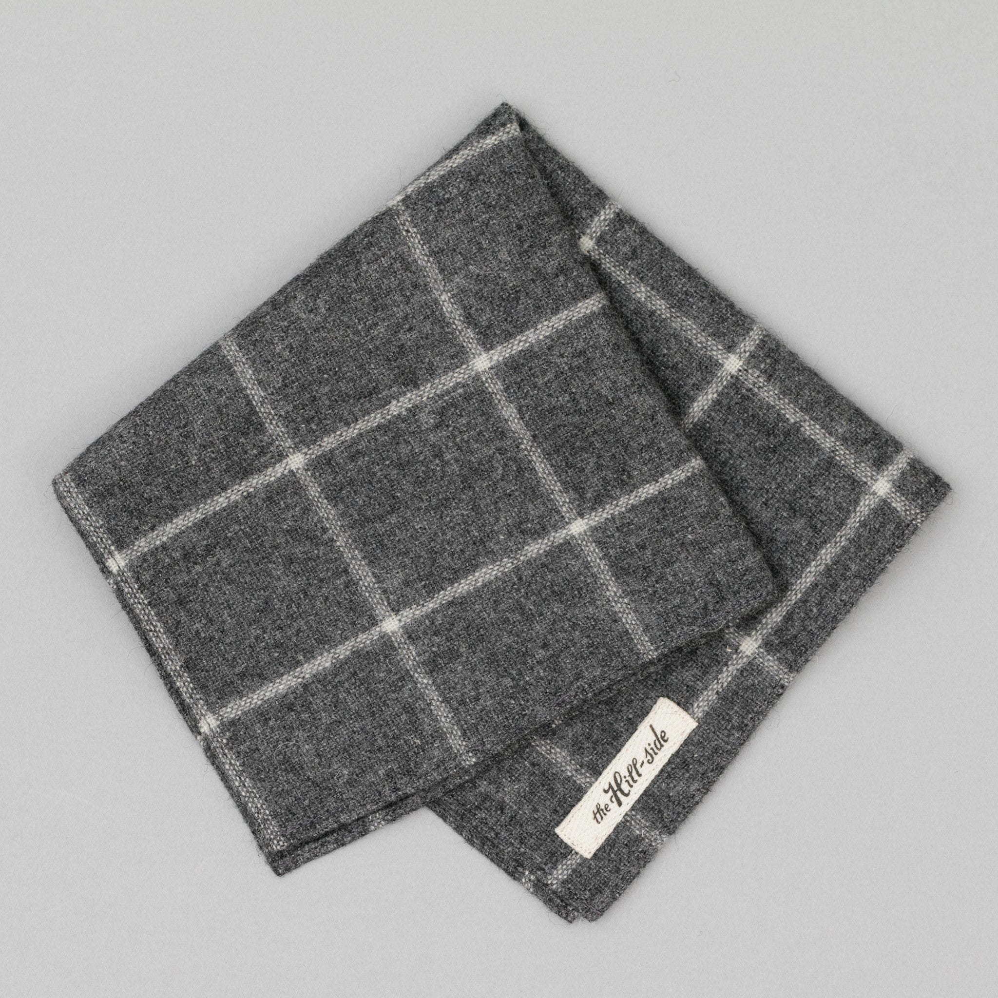 The Hill-Side - Pocket Square, Wool Blend Windowpane Check, Grey & White - PS1-383