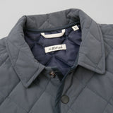 The Hill-Side - Quilted Ueno Jacket, Water-Resistant Brushed Nylon, Slate Blue - JK13-399