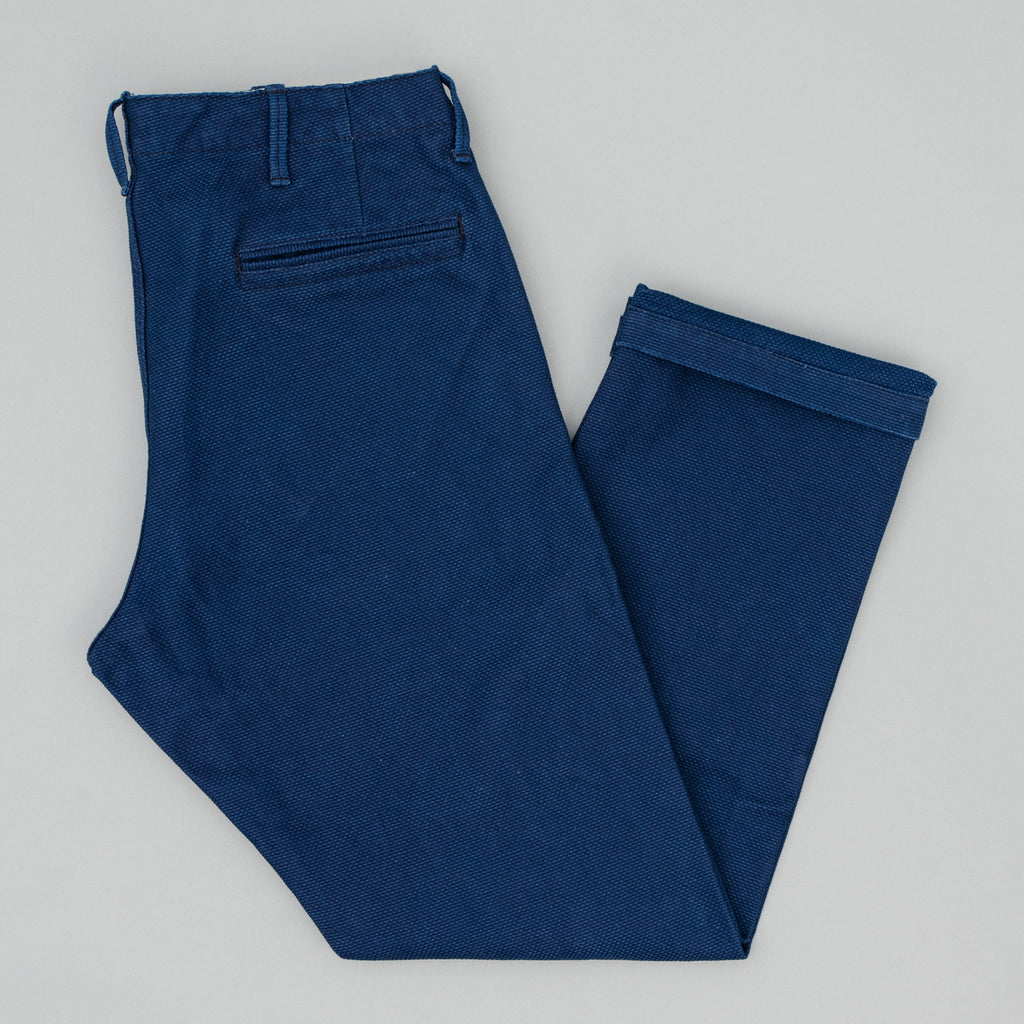 The Hill-Side - Reinforced Mil Chinos, Selvedge Lightweight Indigo Sashiko - LP2-244