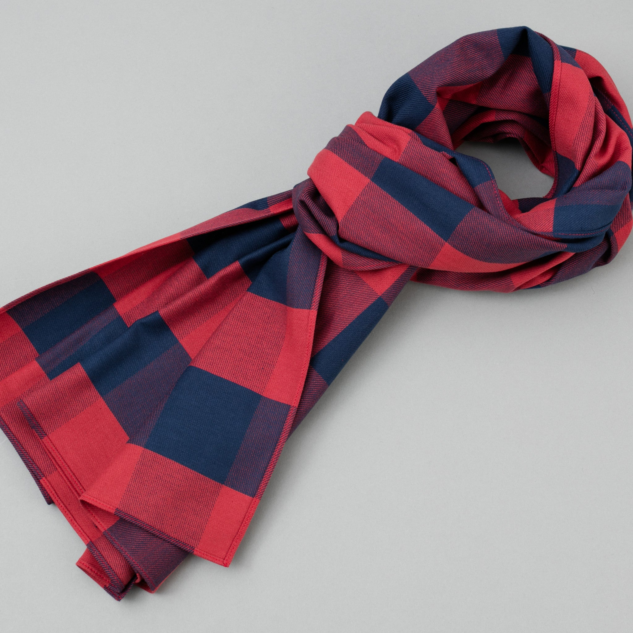 The Hill-Side Indigo/Red Buffalo Check Scarf